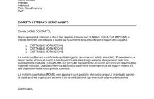 Lettera Licenziamento Giusta Causa